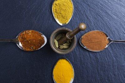 Image Oriental, Indien, épices, curry, paprika, muscade, ardoise