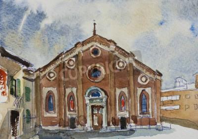 Image Original aquarelle peinture carte postale fasade de Santa Maria delle Grazie à Milan, Italie