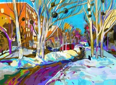 Image original digital painting of winter cityscape. Modern Impressionism