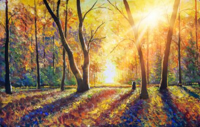 Image Original hand painted autumn oil painting on canvas. Sunny autumn dark trees in gold autumn forest park wood alley impressionism art