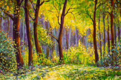 Image Original oil painting, contemporary style, made on stretched canvas Sunny Park forest wood - green trees in the sunlight