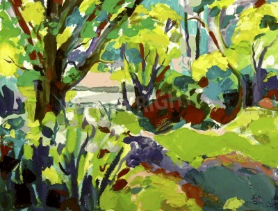 Image Original oil painting landscape with tree