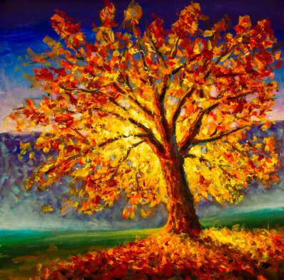 Image Original oil painting on canvas art. Sunny autumn tree. Modern impressionism. Autumn gold yellow orange red tree in sun light landscape expressionism artwork oil acrylic painting
