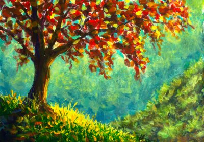 Image Original oil painting on canvas. Autumn tree on sunny mountain side landscape. Modern art.