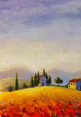 Image Original oil painting on canvas beautiful sunset in Tuscany artwork; Italy landscape Modern art illustration.
