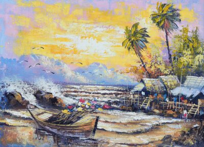 Image Original oil painting on canvas - Old fishing boat in the harbor