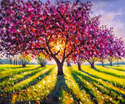 Image Original oil painting sunny landscape on canvas. Beautiful early spring, spring landscape. Modern impressionism painting.