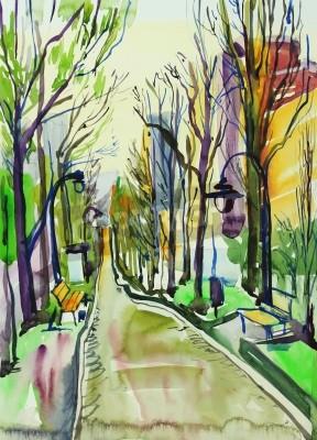 Image original watercolor painting of city park