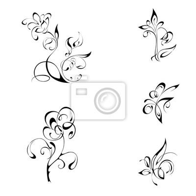 Fleurs Stylisées ornement 4. fleurs stylisées sur fond blanc peintures murales