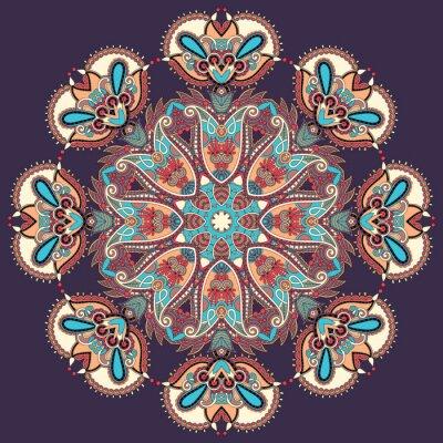 Image ornement en dentelle Cercle, modèle tour de napperon géométrique ornemental