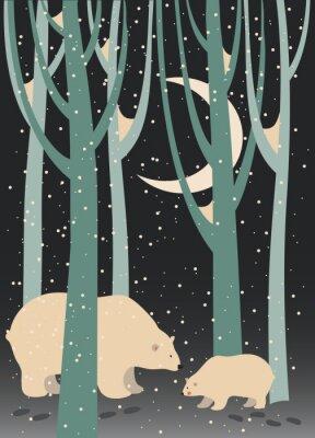 Image Ours polaire et son ourson dans la forêt