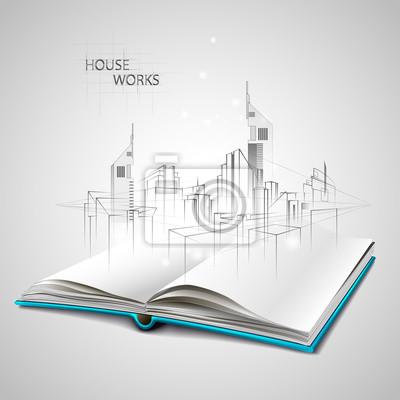Image Ouvert Le Livre Et Le Dessin De Croquis De Construction