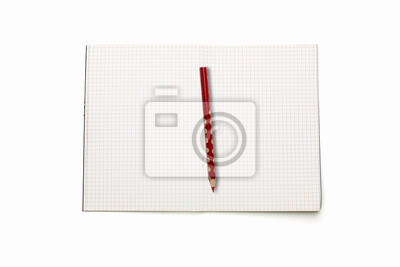 Image Ouvert Livre Blanc Carre Avec Un Crayon Rouge Isole Sur Blanc
