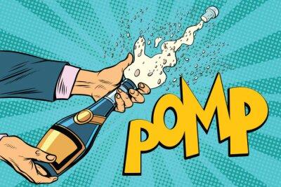 Image Ouverture de bouteilles de champagne pop art