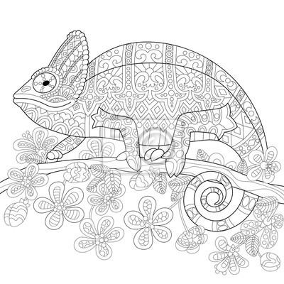 Dessin D Un Livre page de livre de coloris du lézard caméléon et des fleurs tropicales