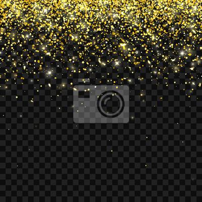 Image Paillettes Dor Sur Fond Transparent Foncé Particules Qui Tombent