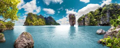 Image Paisaje pintoresco.Oceano et montañas.Viajes y aventuras autour del mundo.Islas de Tailandia.Phuket.