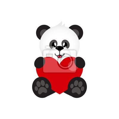 Image Panda Mignon De Dessin Animé Avec Coeur Assis
