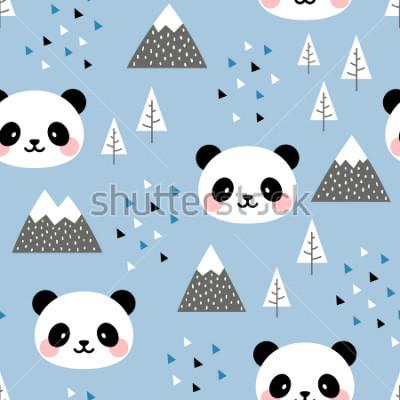 Image Panda sans soudure de fond, panda mignon heureux scandinave dans la forêt entre l'arbre de montagne et le nuage, Cartoon Panda Bears Vector illustration pour enfants fond nordique avec des points