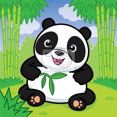 Image Panda Tient Une Branche De Bambou Vecteur Mignon Dessin Animé