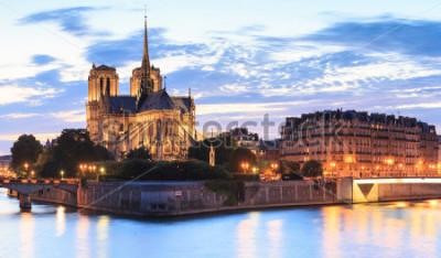 Image Panorama de l'île Cité avec la cathédrale Notre Dame de Paris à Paris, France.