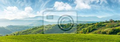 Image panorama de la belle campagne de Roumanie. après-midi ensoleillé. magnifique paysage de printemps dans les montagnes. terrain gazonné et collines. paysage rural