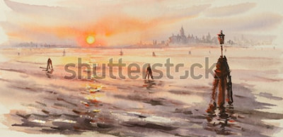 Image Panorama de la lagune de Venise au coucher du soleil. Image créée à l'aquarelle.