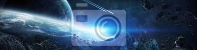 Image Panorama du système de planète lointaine dans l'espace Éléments de rendu 3D de cette image fournis par la NASA