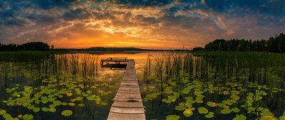 Image Panorama of beautiful sunrise over lake