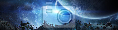 Image Panorama of distant planet system in space 3D rendering elements of this image furnished by NASA