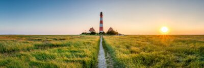 Image Panorama of the Westerheversand Lighthouse at Westerhever in Nordfriesland in the German state of Schleswig-Holstein