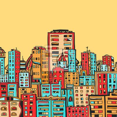 Panorama, ville, dessin animé, Illustration