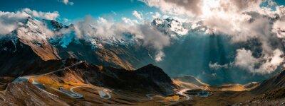 Image Panoramic Image of Grossglockner Alpine Road. Curvy Winding Road in Alps.