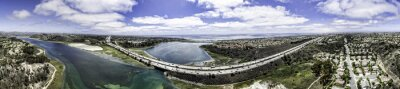 Image Panoramique aérienne de Batisquitos Lagoon à Carlsbad, en Californie, USA.