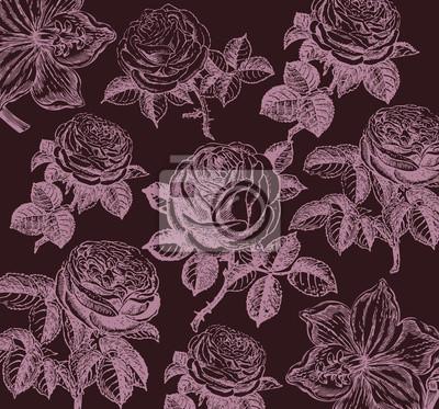 Image Papier Peint Classique Avec Un Motif Floral. Fragment