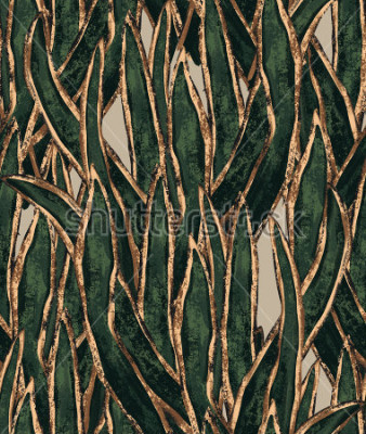 Image papier peint d'algues peint à la main. modèle sans couture d'herbe exotique. illustration tropicale pour le design textile et surface