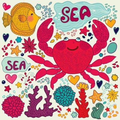 papier peint de vecteur avec des poissons, de crabes amusement et la vie marine