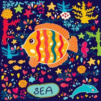 papier peint de vecteur avec des poissons et la vie marine