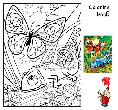 Papillon Et Cameleon Livre De Coloriage Dessin Anime Vecteur Peintures Murales Tableaux Mimique Ailier Tache Myloview Fr