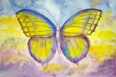 Image Papillon jaune et bleu. La technique dabbing donne un effet de focalisation douce en raison de la rugosité de surface altérée du papier.