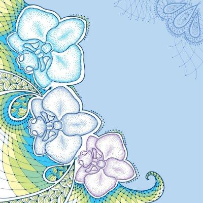 Image Papillons à points Orchidée ou Phalaenopsis avec dentelles décoratives en couleurs pastel sur le fond bleu. Éléments floraux dans le style de pointwork.