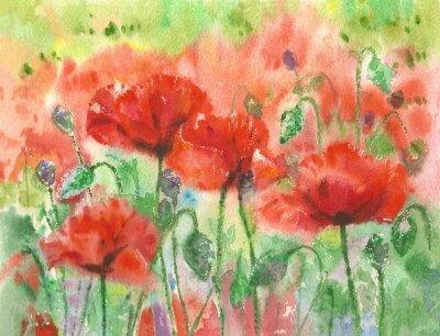 Image Papillons rouges fleurs fond, aquarelle.