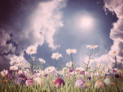 Image Pâques fond vintage avec des oeufs et des fleurs