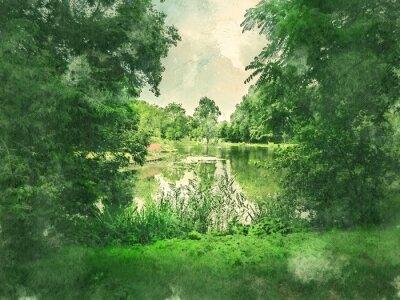 Image Parc verdoyant et lac à Amsterdam. Aquarelle. Style de peinture à l'huile.