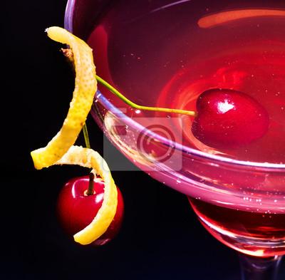 Partie, cerise, cocktail, citron, tranche, décoration, martini, verre Vue de dessus.