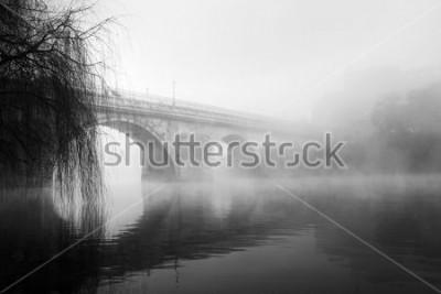 Image Partie historique de Barcelos par un matin brumeux (photo HDR en noir et blanc)