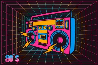 Image Party Recorder rétro années 80 années 80 Pop Party, style de dessin animé au néon