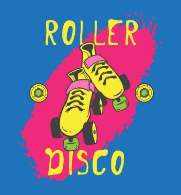 Image Patin à roulettes et la conception graphique roller_disco pour t-shirt