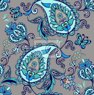 Patron Oriental Paisible De Paisley Fond Decran Floral Ornement Peintures Murales Tableaux Persan Ethnique Imprimer Myloview Fr