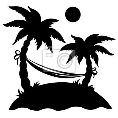 Paume, île, hamac, soleil, isolé, noir, silhouette